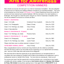 Arts for Awareness Competition Winners 2015